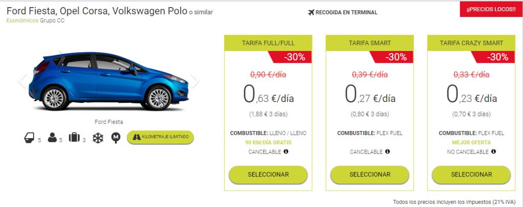 alquiler de coches baratos para marzo